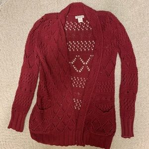Red lucky brand cardigan sweater